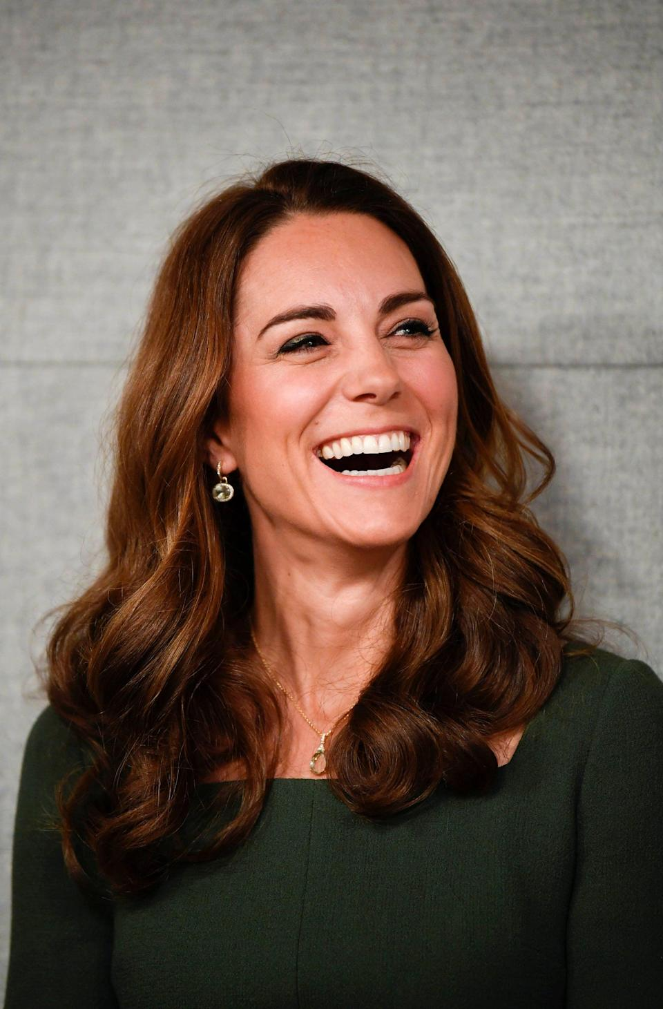 <p>For a day out on royal duties, Middleton decided to wear her hair in very loose curls, which can be achieved by wrapping medium sections of hair around a large curling iron, making sure the ends are touching the barrel as well. </p>