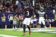 Houston Texans wide receiver Anthony Miller (3) makes a touchdown catch against the Carolina Panthers during the first half of an NFL football game Thursday, Sept. 23, 2021, in Houston. (AP Photo/Justin Rex)