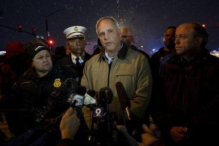 Colorado Springs police chief Pete Carey tells reporters that the shooting suspect at the Planned Parenthood center is in custody in Colorado Springs, Colorado November 27, 2015. REUTERS/Rick Wilking