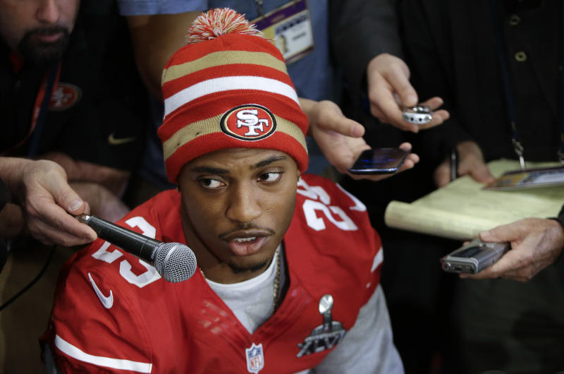 "San Francisco 49ers cornerback Chris Culliver answers questions Thursday, Jan. 31, 2013, in New Orleans, regarding anti-gay remarks he made during Super Bowl media day Tuesday. Culliver apologized for the comments he made to a comedian, saying ""that's not what I feel in my heart."" The 49ers are scheduled to play the Baltimore Ravens in the NFL Super Bowl XLVII football game on Feb. 3. (AP Photo/Mark Humphrey)"