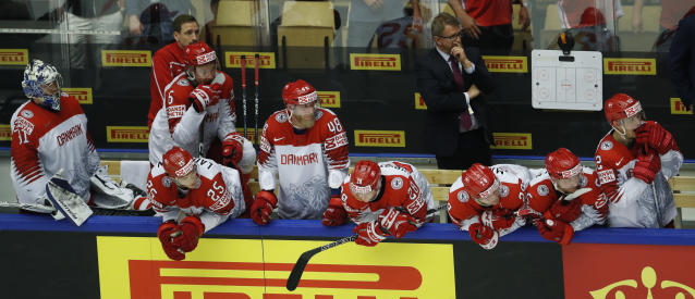 Players of Denmark during the Ice Hockey World Championships group B match between Denmark and Latvia at the Jyske Bank Boxen arena in Herning, Denmark, Tuesday, May 15, 2018. (AP Photo/Petr David Josek)