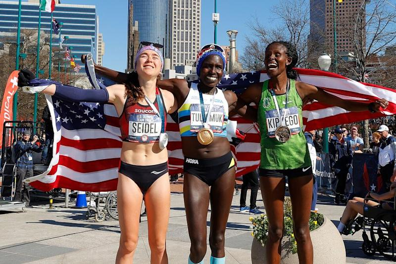 Molly Seidel, Aliphine Tuliamuk and Sally Kipyego | Kevin C. Cox/Getty