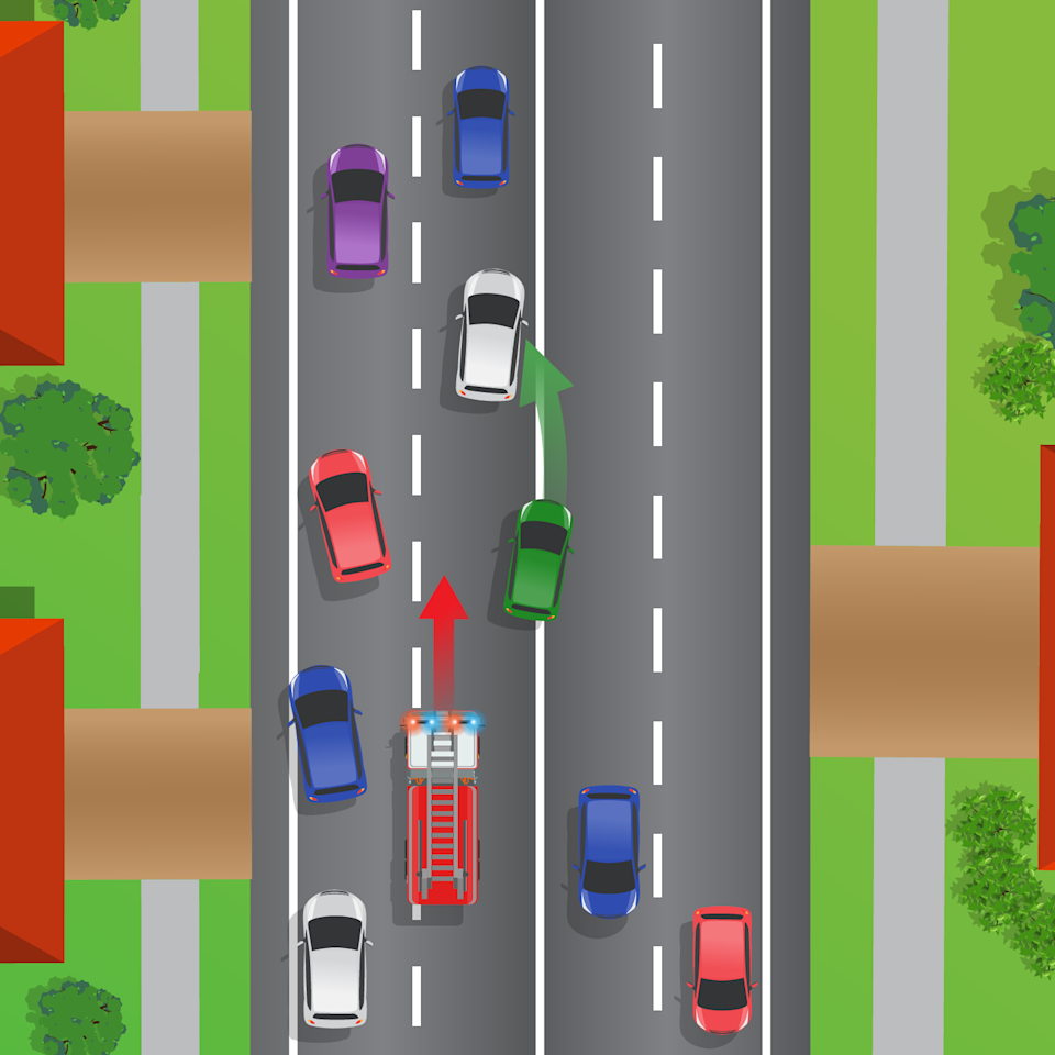 Picture demonstrates a scenario where a car is moving into the wrong lane to allow for a fire truck to overtake.