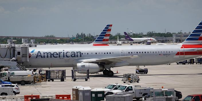 An American Airlines plane at a gate at Fort Lauderdale-Hollywood International Airport in Florida on July 16.