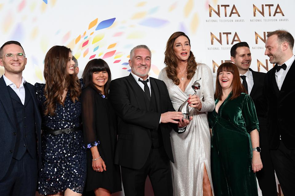 LONDON, ENGLAND - JANUARY 28: Winner of the Best Challenge Show Award, Paul Hollywood of The Great British Bake Off poses with Caitlyn Jenner in the winners room attends the National Television Awards 2020 at The O2 Arena on January 28, 2020 in London, England. (Photo by Gareth Cattermole/Getty Images)