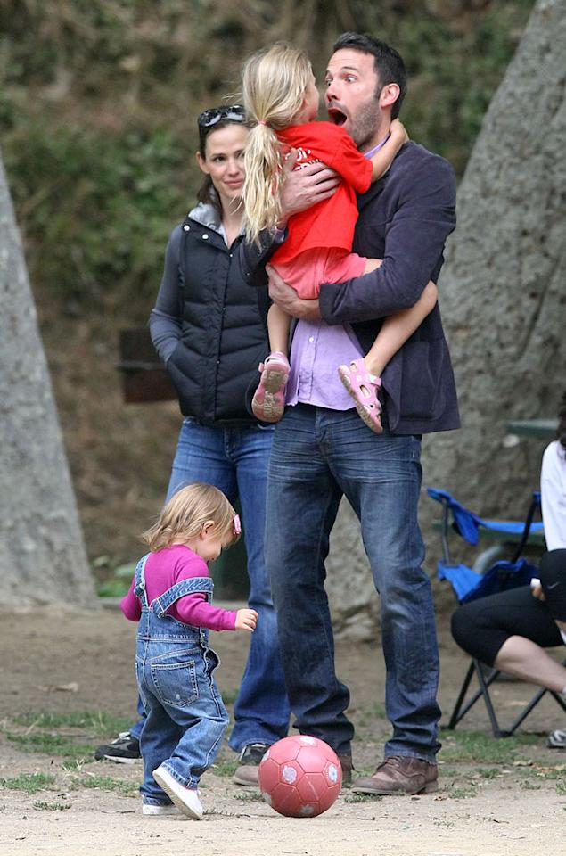"Does it get any more adorable than this? Rarely seen in public all together, Jennifer Garner, Ben Affleck, and their little girls, Violet, 4, and Seraphina, 18 months, were spotted at a Brentwood, California park Saturday. <a href=""http://www.splashnewsonline.com"" target=""new"">Splash News</a> - July 31, 2010"