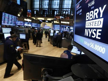 The trading symbol for Blackberry is seen on a screen on the floor at the New York Stock Exchange