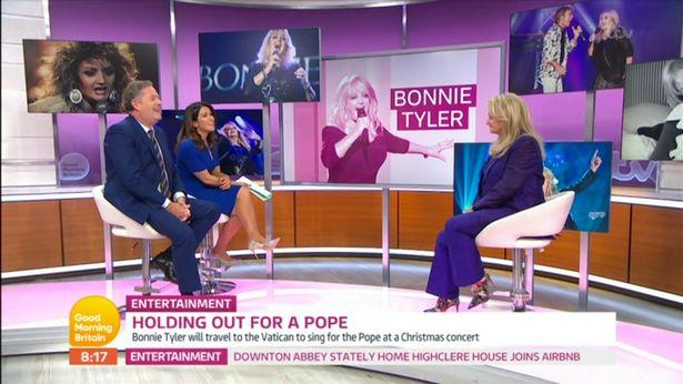 Bonnie Tyler was interview by Piers Morgan and Susanna Reid on Good Morning Britain (Credit ITV)