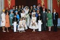<p>Charles and Diana wed on July 29, 1981, at St. Paul's Cathedral in London. After the ceremony, the newlyweds posed for photos with their family members, including the Queen, Prince Philip, Princess Margaret, Elizabeth the Queen Mother, Princess Anne, Prince Edward, Prince Andrew, Diana's mother Frances Shand Kydd, and her father John Spencer.</p>