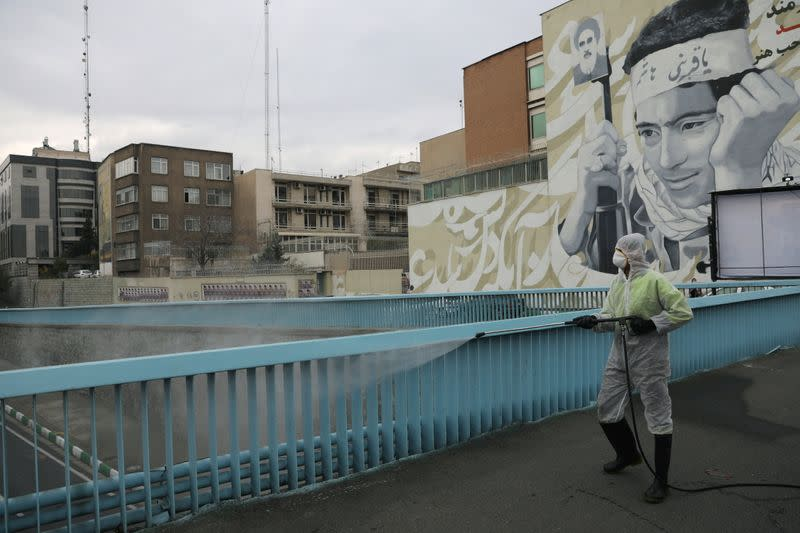 FILE PHOTO: A municipality worker wearing a protective suit, disinfects the area, amid the outbreak of the coronavirus disease (COVID-19), in Tehran