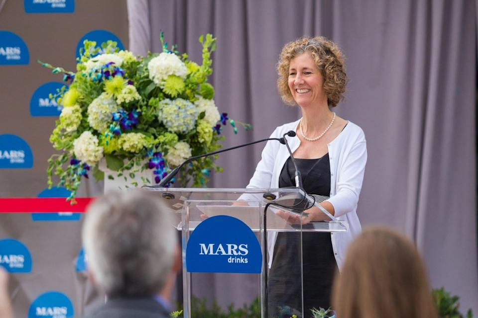 Victoria B. Mars, heiress of the Mars family and chairman of Mars Inc, speaking at an Mars Drinks corporate event