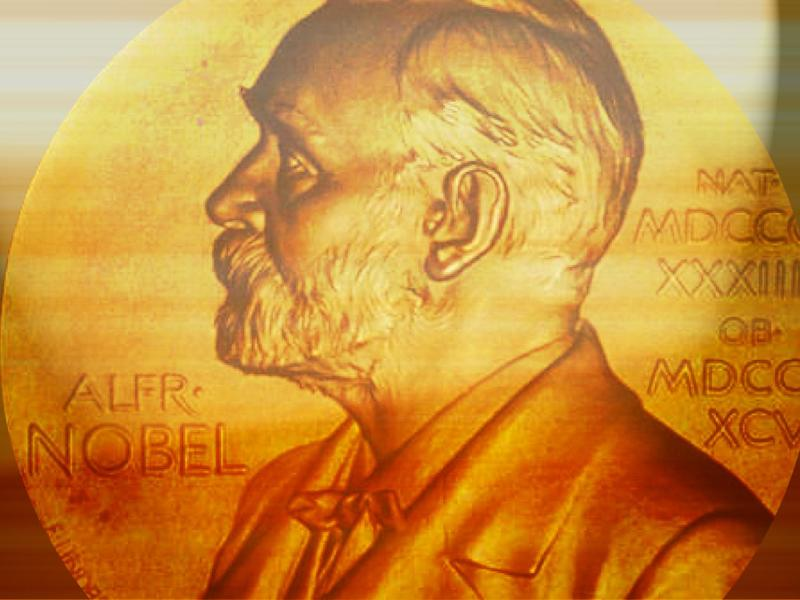 Nobel Prize medallion, on texture, partial graphic