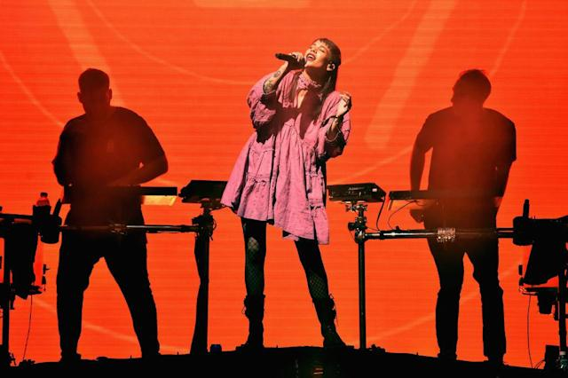 <p>Naomi Wild with ODESZA performs on the stage during the 2018 Firefly Music Festival in Dover, Delaware. (Photo: Getty Images) </p>