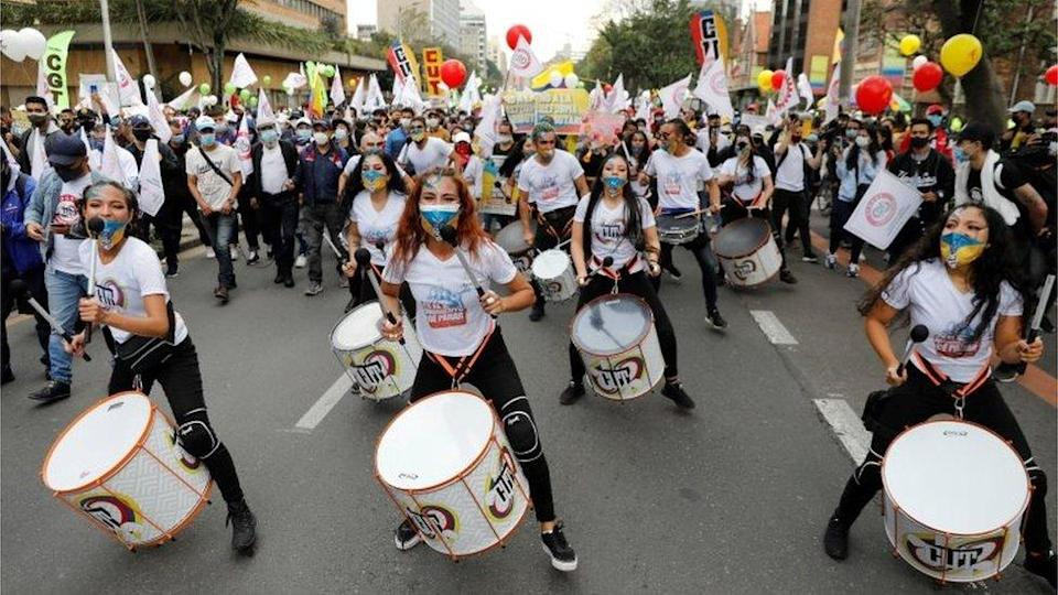 Drummers participates in the day of demonstrations to reject the tax reform in Bogota, Colombia, 28 April 2021