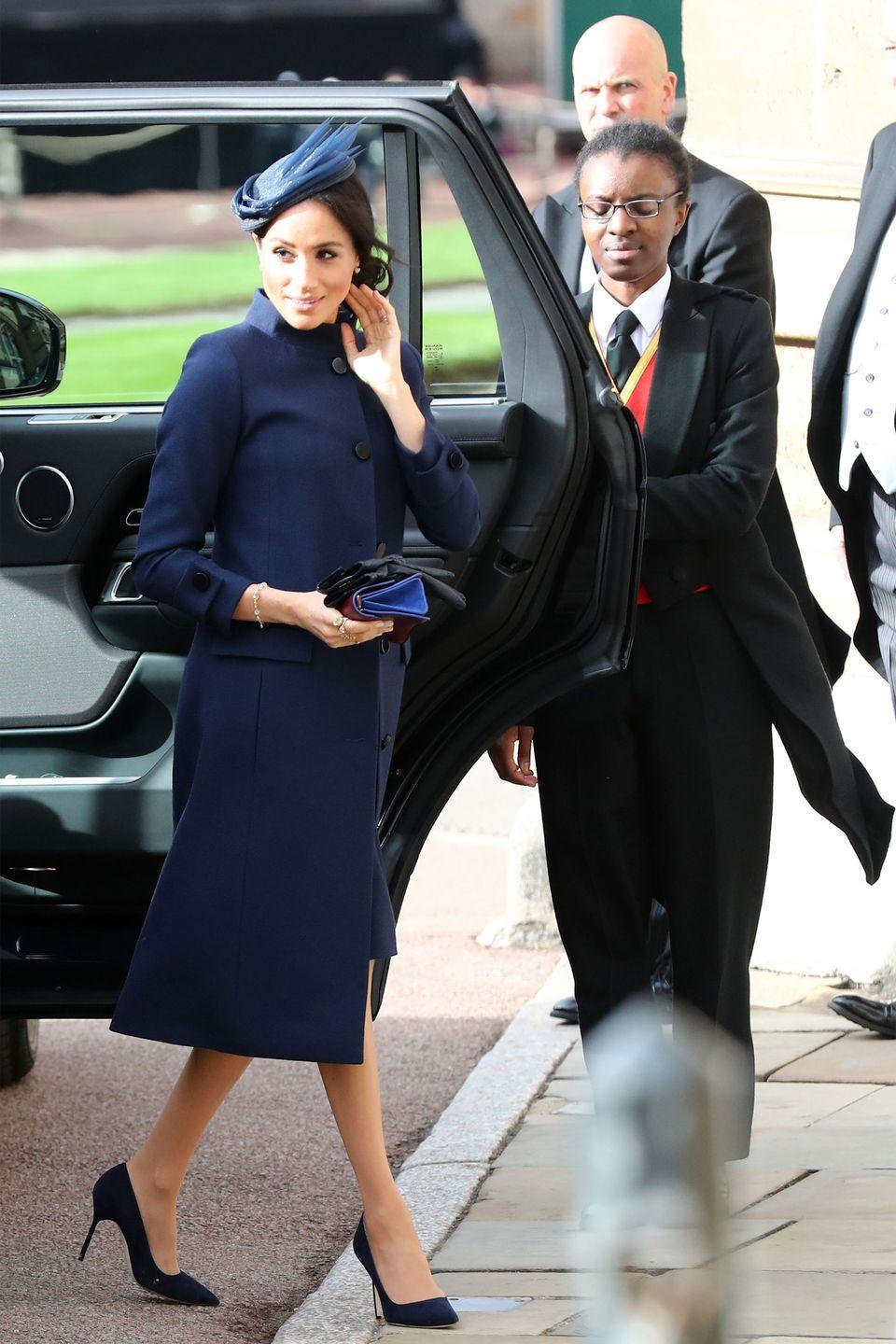<p>Meghan arrives ahead of the wedding of Princess Eugenie of York to Jack Brooksbank at Windsor Castle.</p>