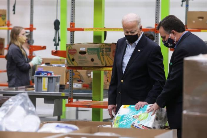 U.S. President Joe Biden tours Houston Food Bank in Houston, Texas