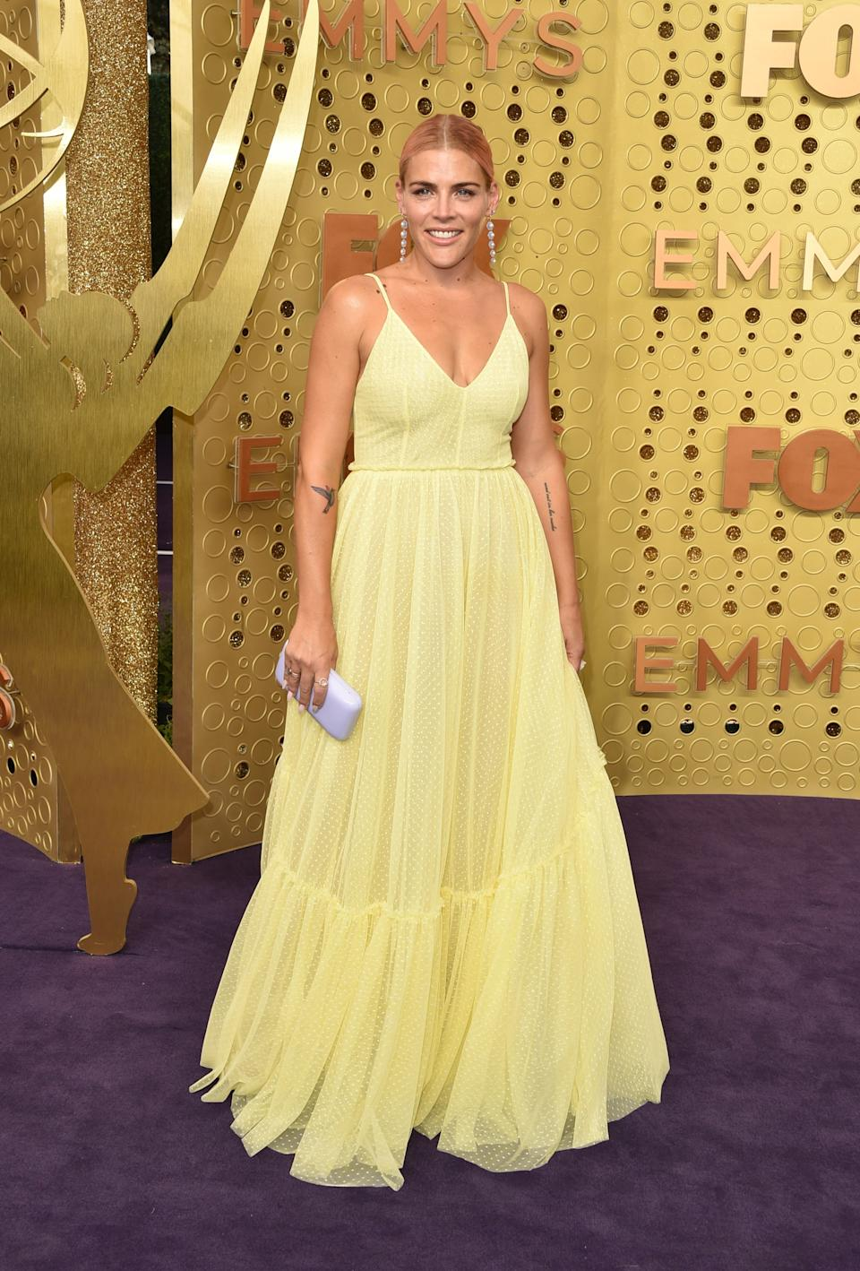 """<h1 class=""""title"""">Busy Philipps in Lela Rose and Irene Neuwirth jewelry</h1><cite class=""""credit"""">Photo: Getty Images</cite>"""