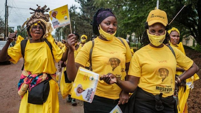 Museveni supporters at a rally, December 2020