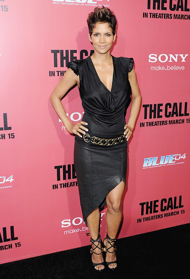 """Following in Abi's footsteps was her """"Call"""" co-star, Halle Berry, who killed it on the red carpet in this plunging blouse and asymmetrical Helmut Lang leather skirt. And those strappy Giuseppe Zanotti sandals ... beyond stunning! (3/5/2013)"""