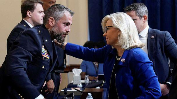 PHOTO: Rep. Liz Cheney greets Washington Metropolitan Police Department officer Michael Fanone before the first House select committee hearing on the Jan. 6 attack on Capitol Hill in Washington, D.C., July 27, 2021. (Andrew Harnik/Pool via Reuters)