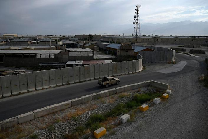 Fencing, buildings and roads at the Bagram air base