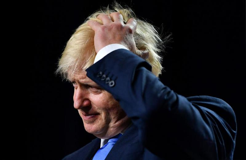 Britain's Prime Minister Boris Johnson during a news conference at the end of the G7 summit.
