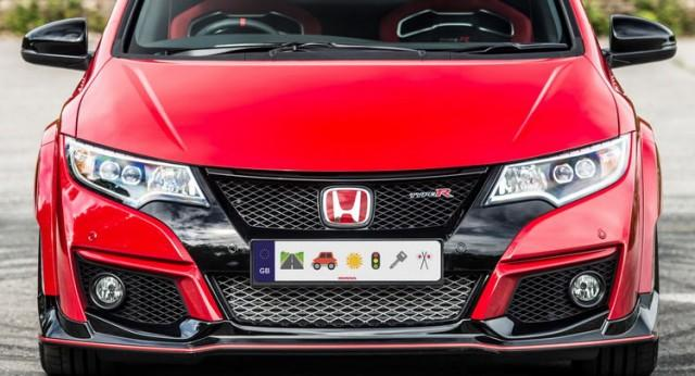 Red Honda with emoji license plates