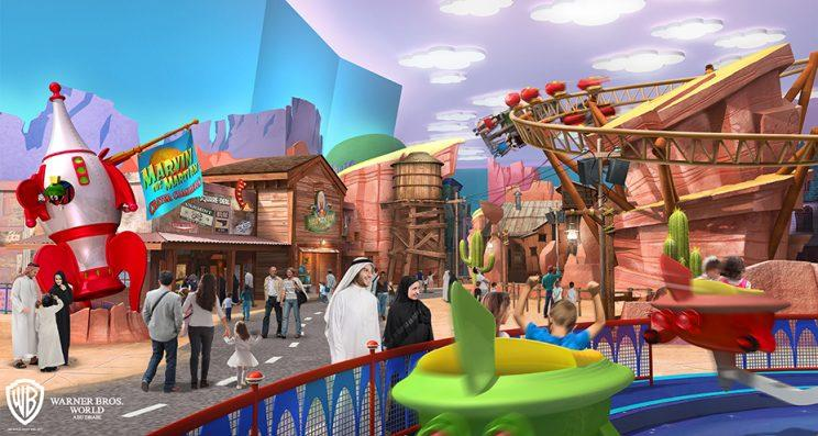 Concept art of Dynamite Gulch for proposed Warner Bros. theme park in Abu Dhabi, the United Arab Emirates