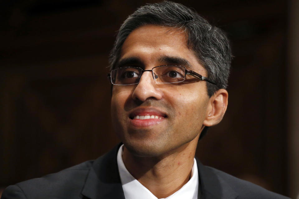 FILE - In this Feb. 4, 2014, photo, then U.S. Surgeon General appointee Dr. Vivek Murthy appears on Capitol Hill in Washington. Murthy has been named as co-chair by President-elect Joe Biden to his COVID-19 advisory board. (AP Photo/Charles Dharapak, File)