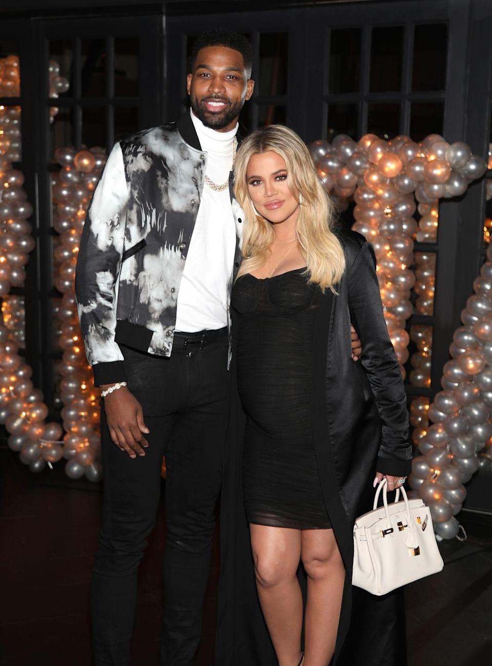 """<p>Just when it looked like Khloé found a faithful man, images of Tristan cheating made their rounds on the internet...while she was pregnant. Tristan and Khloé stayed together to raise their daughter—that is, until she allegedly found out he cheated with family friend Jordyn Woods. They finally <a href=""""https://www.womenshealthmag.com/fitness/a26573674/khloe-kardashian-tristan-thompson-workout-breakup-therapy/"""" rel=""""nofollow noopener"""" target=""""_blank"""" data-ylk=""""slk:split for good"""" class=""""link rapid-noclick-resp"""">split for good</a> in February.</p>"""