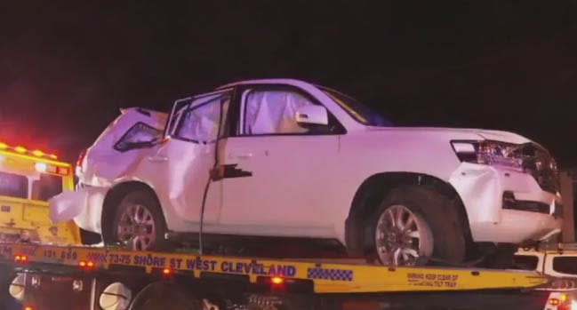 The Toyota Landcruiser was allegedly stolen before the crash. Source: Nine News