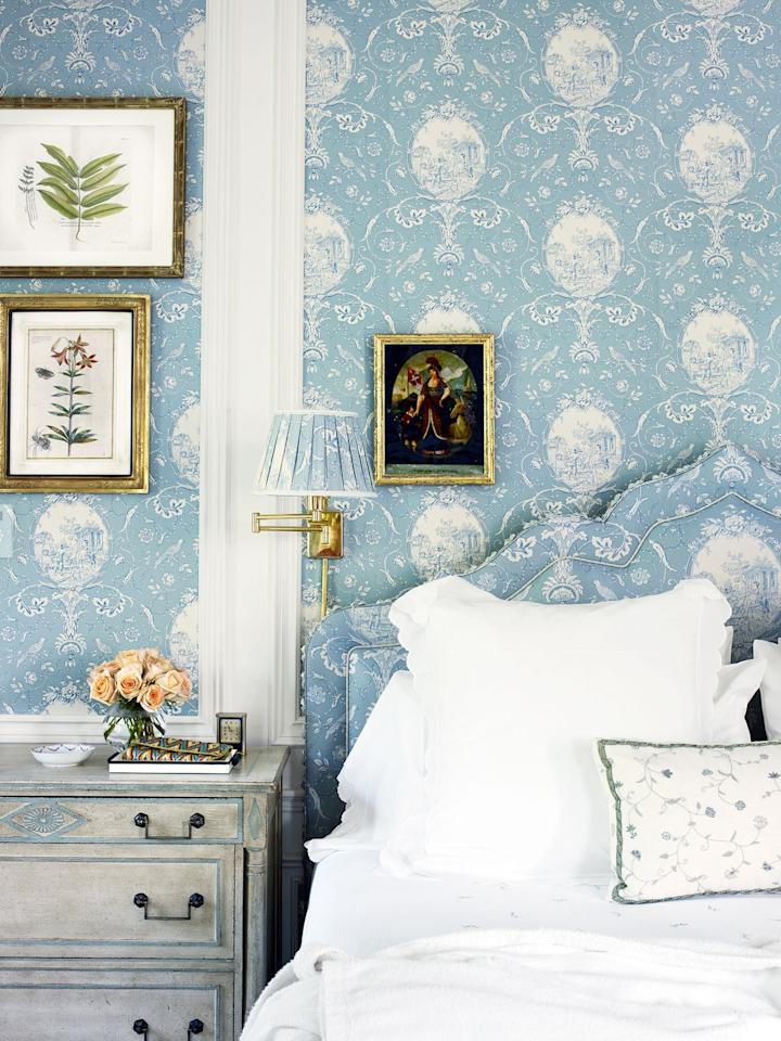 """<p>Shabby chic, but make it fancy. Designed by <a href=""""https://www.letaaustinfoster.com/"""" target=""""_blank"""">Leta Austin Foster</a>, this Palm Beach bedroom is perfectly coordinated, from the matching headboard upholstery, wallpaper, and pleated sconce shade, to the framed prints and washed French country chic dresser. Keep things tonal for a similar look, and add just a few shabby chic accents for a nice balance between approachable and refined. </p><p><em>Check out <a href=""""https://www.chairish.com"""" target=""""_blank"""">Chairish</a> for shabby chic bedroom finds, and shop our pick below: </em></p><p><a class=""""body-btn-link"""" href=""""https://www.chairish.com/product/1736414/1960s-french-provincial-drexel-triune-3-drawer-dresser"""" target=""""_blank"""">BUY NOW</a> <strong><em>Vintage French Provincial Dresser, $450</em></strong></p>"""