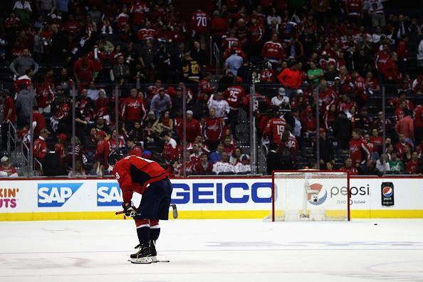 """WASHINGTON, DC – MAY 10: <a class=""""link rapid-noclick-resp"""" href=""""/nhl/players/3637/"""" data-ylk=""""slk:Alex Ovechkin"""">Alex Ovechkin</a> #8 of the <a class=""""link rapid-noclick-resp"""" href=""""/nhl/teams/was/"""" data-ylk=""""slk:Washington Capitals"""">Washington Capitals</a> skates off the ice following the Capitals 2-0 loss to the <a class=""""link rapid-noclick-resp"""" href=""""/nhl/teams/pit/"""" data-ylk=""""slk:Pittsburgh Penguins"""">Pittsburgh Penguins</a> in Game Seven of the Eastern Conference Second Round during the 2017 NHL Stanley Cup Playoffs at Verizon Center on May 10, 2017 in Washington, DC. (Photo by Patrick Smith/Getty Images)"""