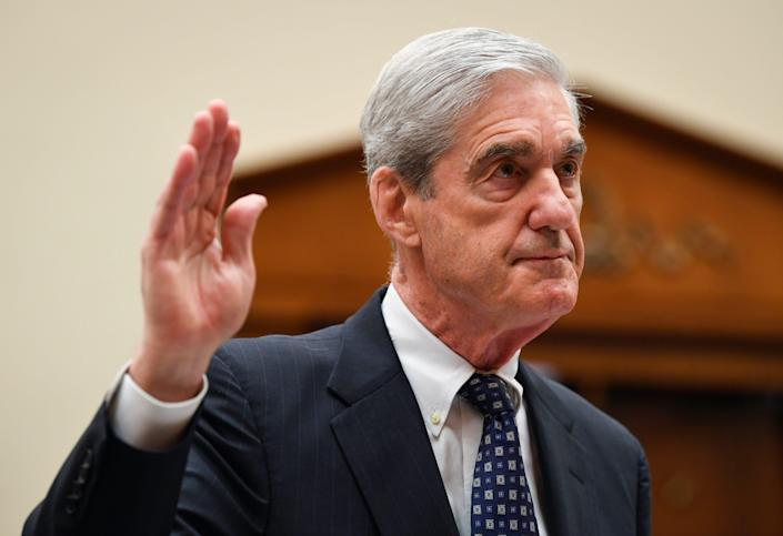 Former Special Counsel Robert S. Mueller, III is sworn in before testifying to House Judiciary Committee on 'Oversight of the Report on the Investigation into Russian Interference in the 2016 Presidential Election.' Mueller - who investigated alleged Russian interference during the 2016 presidential election - said in May that his report 'speaks for itself.'