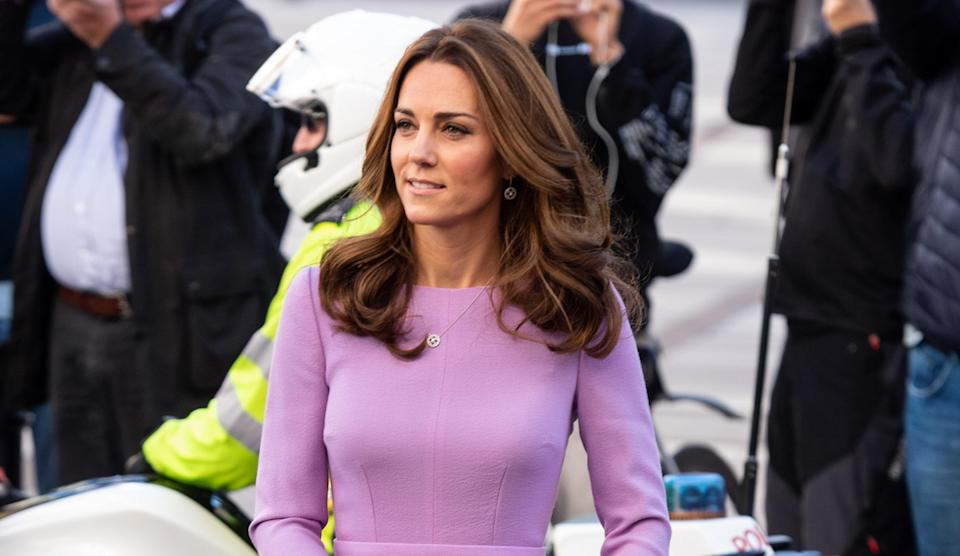 Kate Middleton looked lovely in lilac at the Global Ministerial Mental Health Summit. Photo: Getty Images