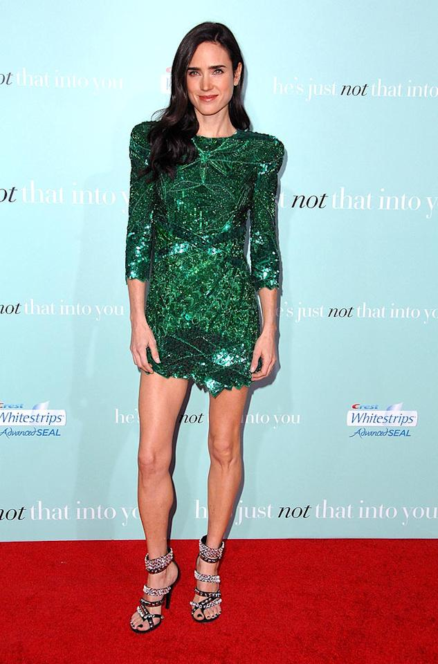 """Jennifer Connelly's forest green Balmain minidress resembled Christmas wrapping paper. Steve Granitz/<a href=""""http://www.wireimage.com"""" target=""""new"""">WireImage.com</a> - February 2, 2009"""