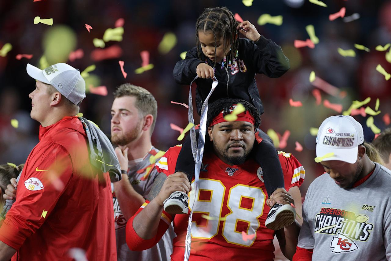 MIAMI, FLORIDA - FEBRUARY 02: Xavier Williams #98 of the Kansas City Chiefs celebrates after defeating San Francisco 49ers by 31 - 20 in Super Bowl LIV at Hard Rock Stadium on February 02, 2020 in Miami, Florida. (Photo by Rob Carr/Getty Images)