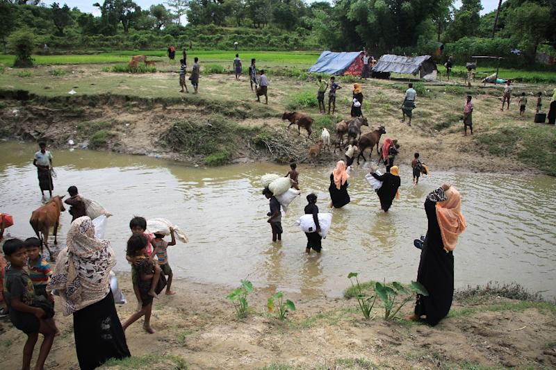Image result for Thousands of Rohingyas stranded on Bangladesh border as Myanmar f