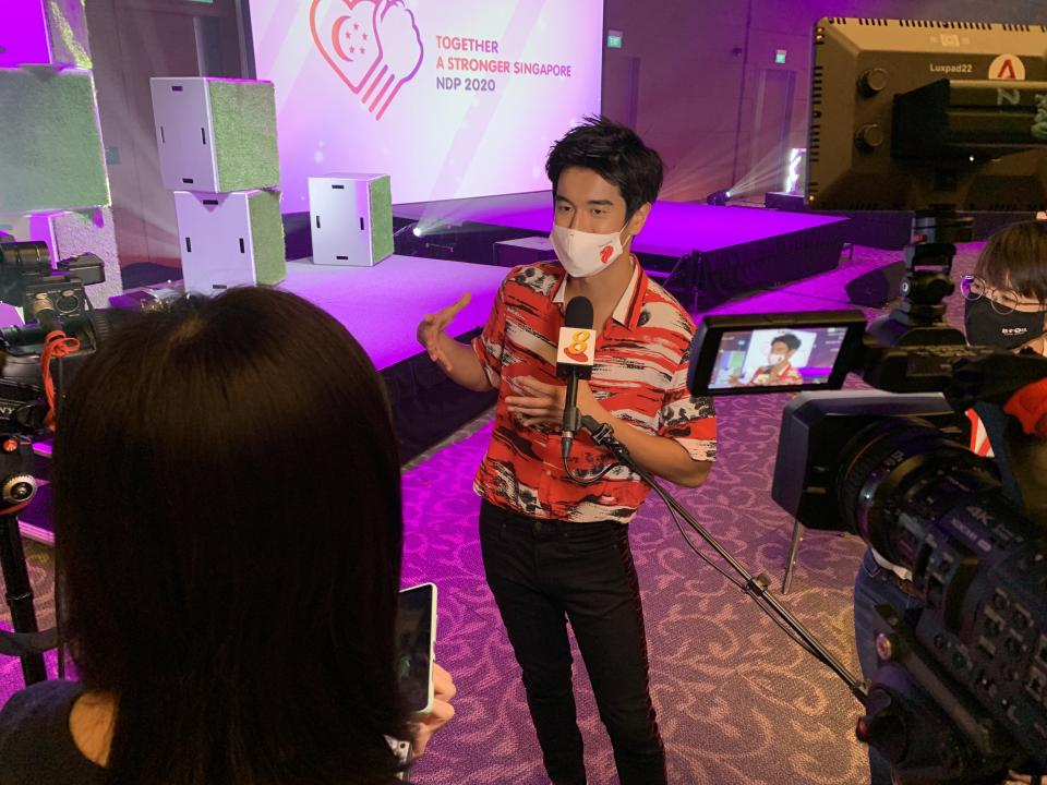 Singaporean singer Nathan Hartono being interviewed at the media preview of the National Day Parade 2020 Evening Show at the Star Performing Arts Centre on 30 July 2020. (Photo: Teng Yong Ping/Yahoo Lifestyle SEA)