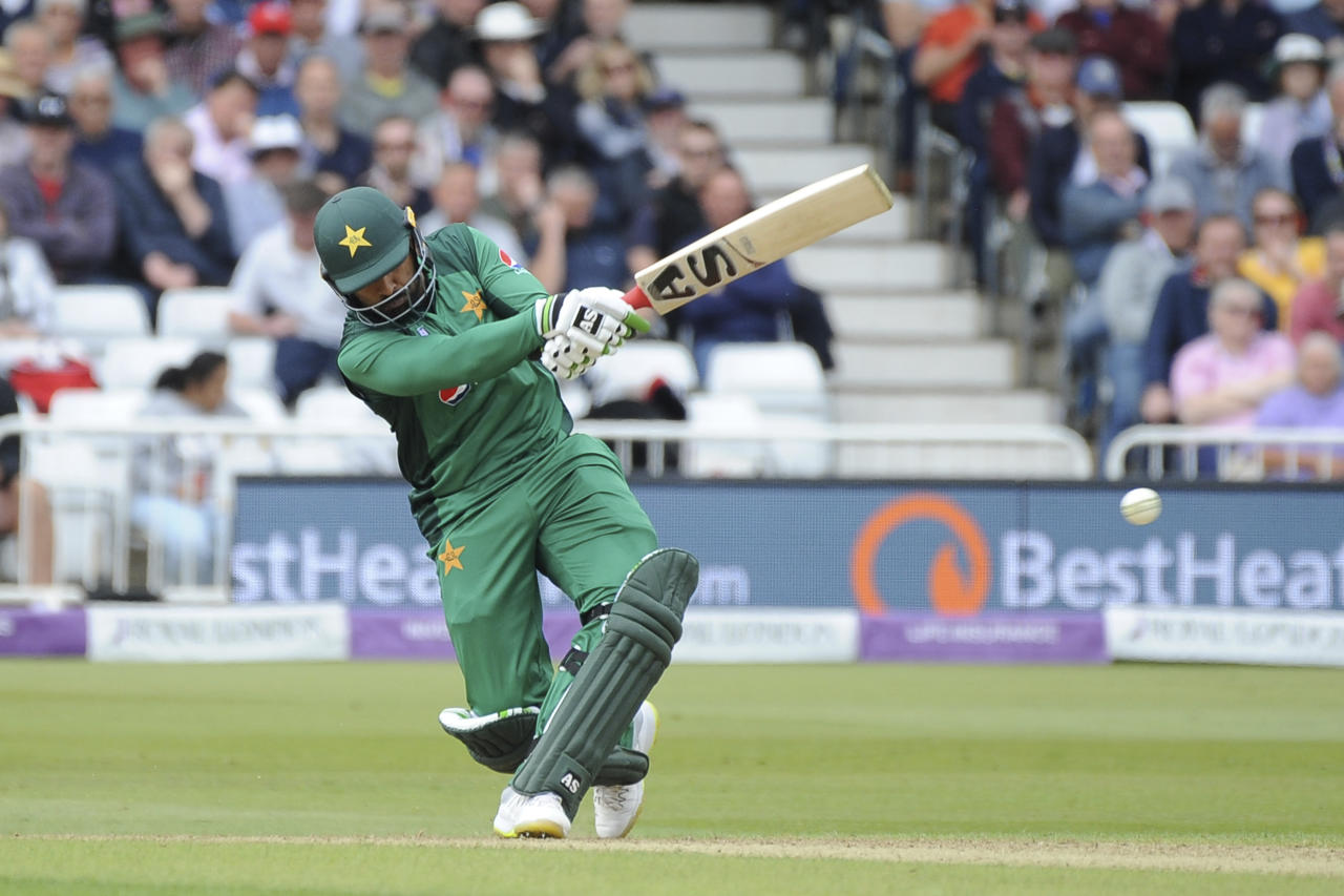 Pakistan's Asif Ali plays a shoot during the Fourth One Day International cricket match between England and Pakistan at Trent Bridge in Nottingham, England, Friday, May 17, 2019. (AP Photo/Rui Vieira)