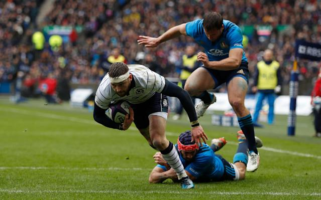 <span>Finn Russell scores Scotland's first try</span> <span>Credit: Reuters </span>