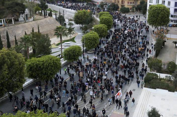 Cypriots march peacefully against corruption and COVID-19 restriction measures in Nicosia