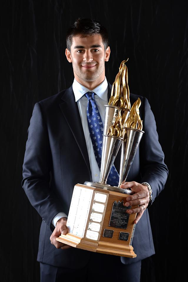 LAS VEGAS, NV - JUNE 20:  Max Pacioretty of the Montreal Canadiens poses after winning the Bill Masterton Memorial Trophy during the 2012 NHL Awards at the Encore Theater at the Wynn Las Vegas on June 20, 2012 in Las Vegas, Nevada.  (Photo by Harry How/Getty Images)