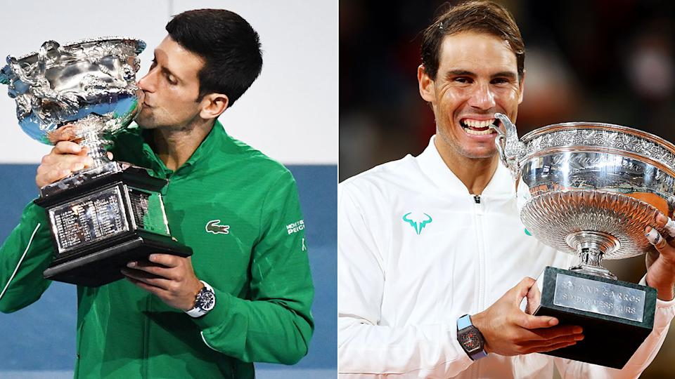 Novak Djokovic and Rafael Nadal are pictured here after winning a grand slam singles title.