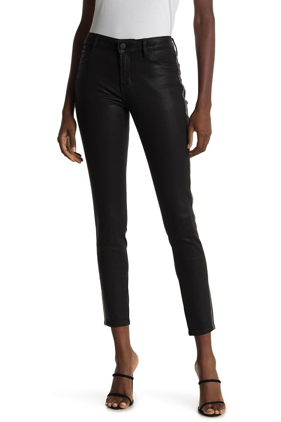 <p>I love the polished look of these <span>Articles of Society Sarah Embellished Stripe Coated Skinny Jeans</span> ($32, originally $138).</p>