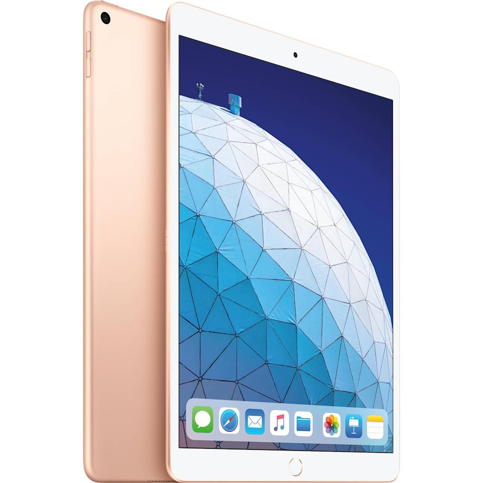 """<h2>Apple iPad Air</h2><br>""""It took me several weeks to get it, but once I did I struggled to remember how I was living without it. It offered me a bridge between my work laptop and my smartphone. I don't love using my work laptop for personal use, and whenever I did use it off-hours I never really felt unplugged. It was hard for me to resist checking my work email, and that always led to me finishing <em>one last thing</em> until it was way too late at night, and I was completely stressed out. My phone is great, but I don't love watching TV or even reading a book on a small screen. I feel a little ridiculous saying it, but the iPad was the 'just right' in-between option. I can use it for all the same stuff I use my laptop for and all the same stuff I use my iPhone for — and it's a pleasure to read books on, and the Apple Pencil makes it easy (and fun - the Apple Pencil is a whole separate story) to jot down notes or even straight-up journal before bed."""" – <a href=""""https://www.instagram.com/mirelzee/?hl=en"""" rel=""""nofollow noopener"""" target=""""_blank"""" data-ylk=""""slk:Mirel Zaman"""" class=""""link rapid-noclick-resp""""><em>Mirel Zaman</em></a><em>, Senior Wellness Editor</em><br><br><em>Shop <strong><a href=""""https://fave.co/3mUJD7c"""" rel=""""nofollow noopener"""" target=""""_blank"""" data-ylk=""""slk:Apple"""" class=""""link rapid-noclick-resp"""">Apple</a></strong></em> <br><br><strong>Apple</strong> Apple iPad Air, $, available at <a href=""""https://go.skimresources.com/?id=30283X879131&url=https%3A%2F%2Ffave.co%2F3mUJD7c"""" rel=""""nofollow noopener"""" target=""""_blank"""" data-ylk=""""slk:Apple"""" class=""""link rapid-noclick-resp"""">Apple</a>"""
