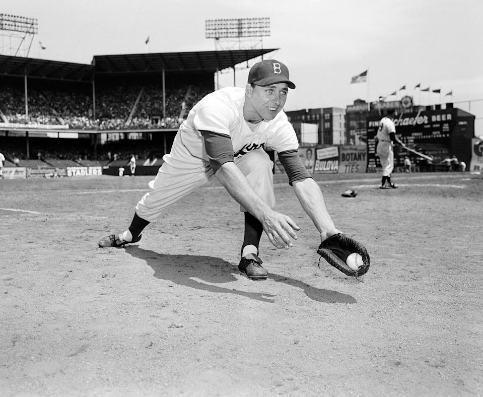 First baseman of the Brooklyn Dodgers, Gil Hodges, in 1952, in New York.  (AP Photo/Harry Harris)