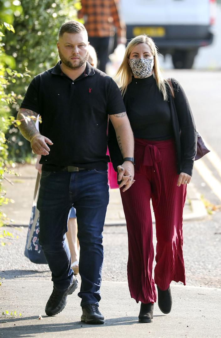 Kandice Barber, 35, arrives with her husband Daniel at Aylesbury Crown Court, Buckinghamshire. (PA Images)
