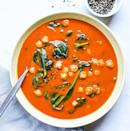 <p>Boxed blended soups are the perfect canvas for simple stir-ins to make them more substantial and satisfying. Here, roasted red pepper soup is jazzed up with canned chickpeas and fresh baby spinach for a fast, comforting meal.</p>