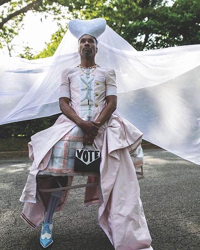 """<p>The actor wore a Thom Browne SS20 creation teamed with blue and white brogues, a Chanel gold necklace, a J.R. Malpere 'Hemera' headpiece for a recent photoshoot. </p><p>He teamed the look with a bag with the word 'Vote' emblazoned on the front – a fitting accessory for his Instagram post encouraging his followers to vote. </p><p><a href=""""https://www.instagram.com/p/CC8xr5BFHYx/?utm_source=ig_web_copy_link"""">See the original post on Instagram</a></p>"""